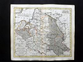 Guthrie 1788 Hand Col Map. Poland shewing the Claims of Russia. Lithuania